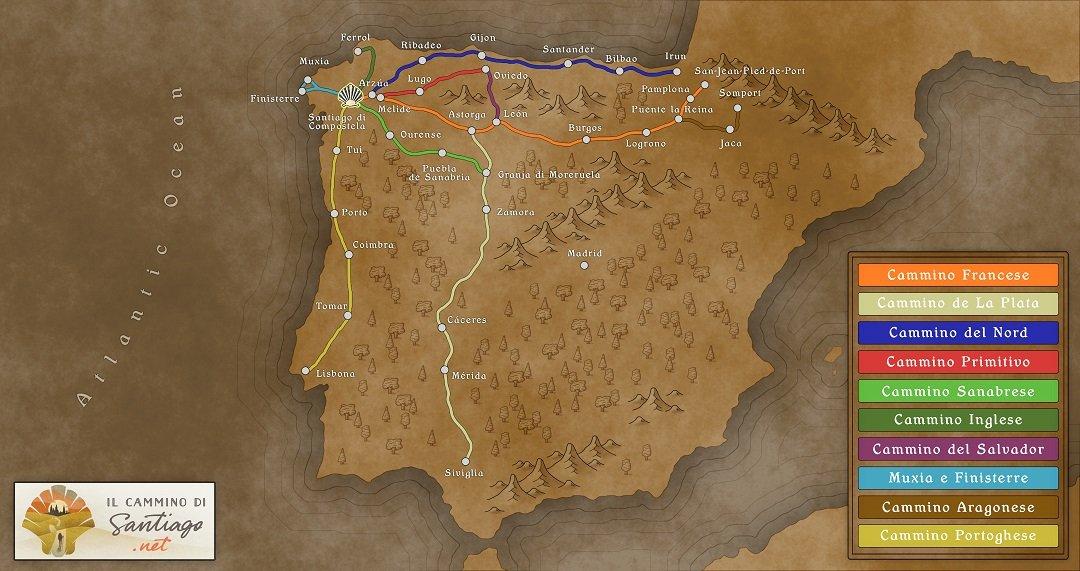 Mappa cammini santiago rettangolare